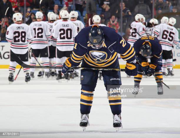 Drew Stafford of the Buffalo Sabres reflects on the Sabres 21 loss against the the Chicago Blackhawks at First Niagara Center on March 9 2014 in...
