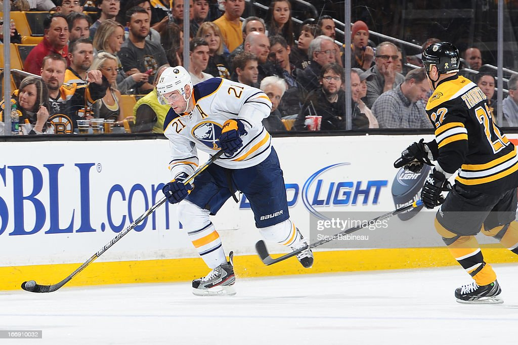 <a gi-track='captionPersonalityLinkClicked' href=/galleries/search?phrase=Drew+Stafford&family=editorial&specificpeople=220617 ng-click='$event.stopPropagation()'>Drew Stafford</a> #21 of the Buffalo Sabres skates against <a gi-track='captionPersonalityLinkClicked' href=/galleries/search?phrase=Shawn+Thornton&family=editorial&specificpeople=221639 ng-click='$event.stopPropagation()'>Shawn Thornton</a> #22 of the Boston Bruins at the TD Garden on April 17, 2013 in Boston, Massachusetts.