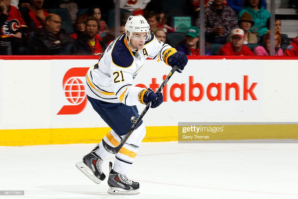 <a gi-track='captionPersonalityLinkClicked' href=/galleries/search?phrase=Drew+Stafford&family=editorial&specificpeople=220617 ng-click='$event.stopPropagation()'>Drew Stafford</a> #21 of the Buffalo Sabres skates against the Calgary Flames at Scotiabank Saddledome on March 18, 2014 in Calgary, Alberta, Canada. The Flames won 3-1.