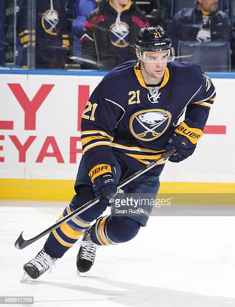 Drew Stafford of the Buffalo Sabres skates against the Edmonton Oilers at First Niagara Center on February 3 2014 in Buffalo New York