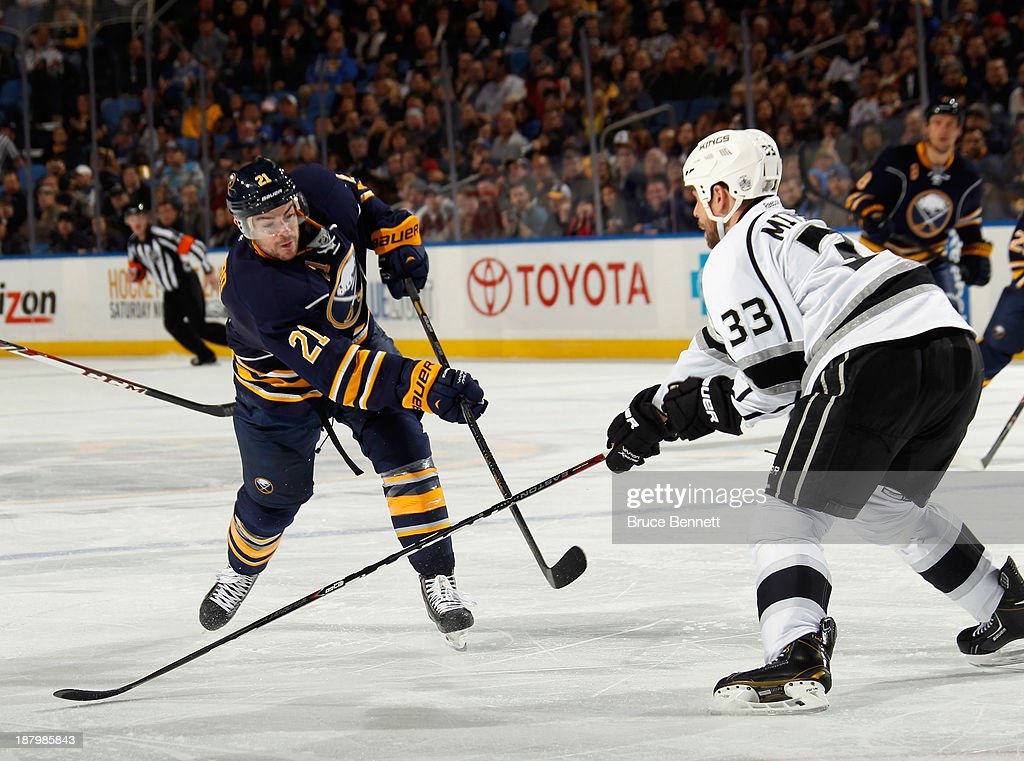 Drew Stafford #21 of the Buffalo Sabres skates against the Los Angeles Kings at the First Niagara Center on November 12, 2013 in Buffalo, New York.