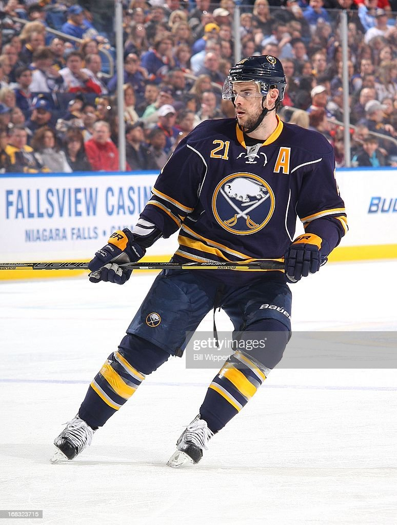 Drew Stafford #21 of the Buffalo Sabres skates against the New York Islanders on April 26, 2013 at the First Niagara Center in Buffalo, New York.