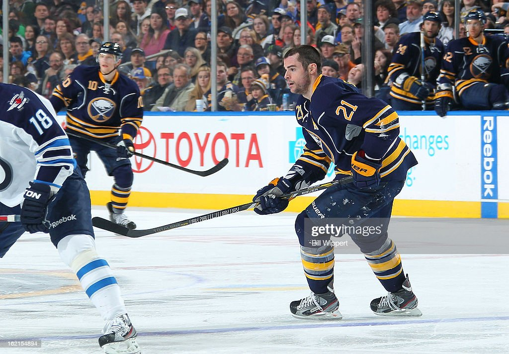 <a gi-track='captionPersonalityLinkClicked' href=/galleries/search?phrase=Drew+Stafford&family=editorial&specificpeople=220617 ng-click='$event.stopPropagation()'>Drew Stafford</a> #21 of the Buffalo Sabres skates against the Winnipeg Jets after losing his helmet on February 19, 2013 at the First Niagara Center in Buffalo, New York. Winnipeg defeated Buffalo, 2-1.