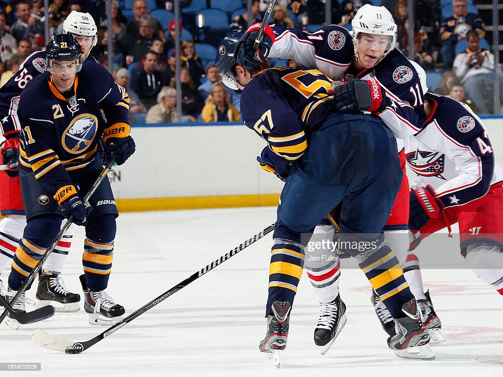 <a gi-track='captionPersonalityLinkClicked' href=/galleries/search?phrase=Drew+Stafford&family=editorial&specificpeople=220617 ng-click='$event.stopPropagation()'>Drew Stafford</a> #21 of the Buffalo Sabres watches as Matt Calvert #11 of the Columbus Blue Jackets tries to jump around <a gi-track='captionPersonalityLinkClicked' href=/galleries/search?phrase=Tyler+Myers&family=editorial&specificpeople=4595080 ng-click='$event.stopPropagation()'>Tyler Myers</a> #57 of the Sabres during their preseason game at First Niagara Center on September 25, 2013 in Buffalo, New York. Buffalo defeated Columbus, 3-0.