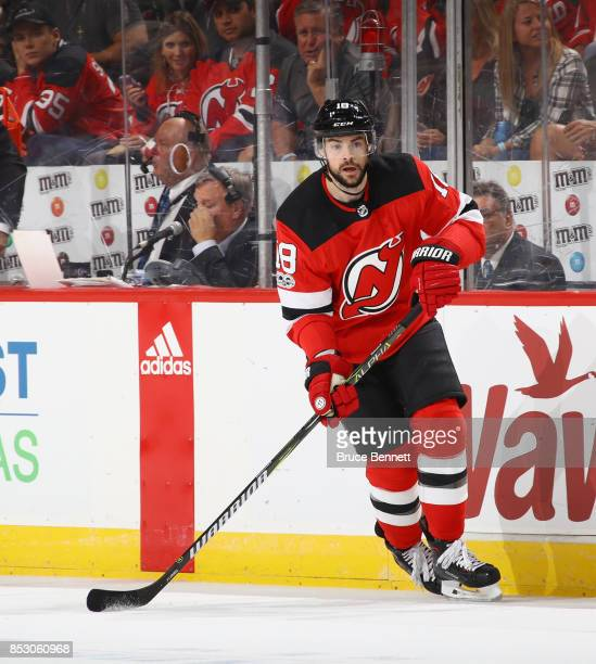 Drew Stafford of the New Jersey Devils skates against the New York Rangers at the Prudential Center on September 23 2017 in Newark New Jersey The...