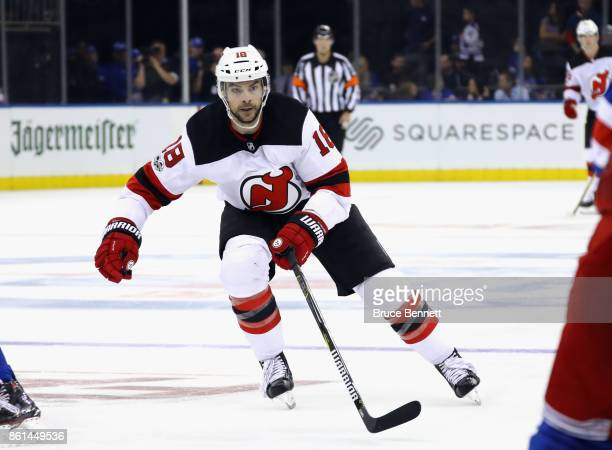 Drew Stafford of the New Jersey Devils skates against the New York Rangers at Madison Square Garden on October 14 2017 in New York City The Devils...