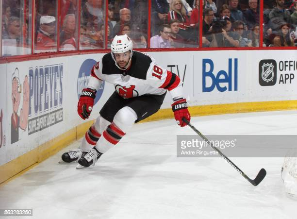 Drew Stafford of the New Jersey Devils skates against the Ottawa Senators at Canadian Tire Centre on October 19 2017 in Ottawa Ontario Canada