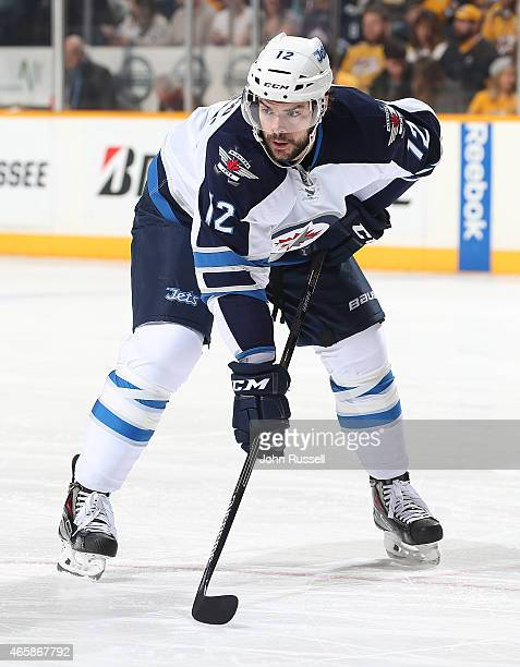 Drew Stafford of the Winnipeg Jets skates against the Nashville Predators during an NHL game at Bridgestone Arena on March 7 2015 in Nashville...