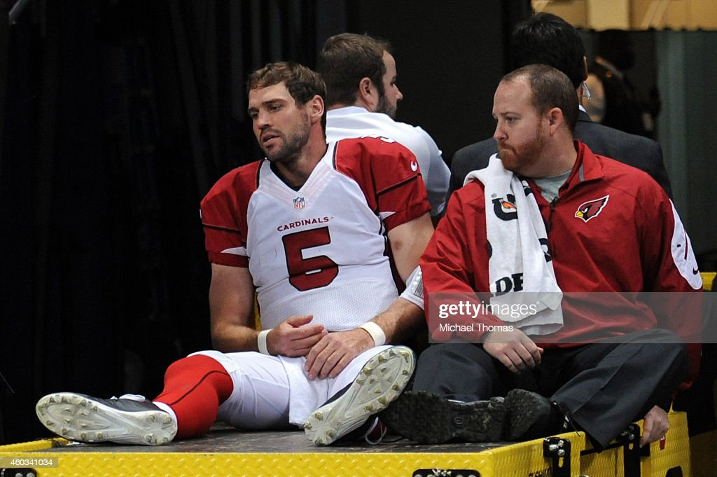 Drew Stanton #5 of the Arizona Cardinals gets carted off the field after getting injured on a sack by Aaron Donald #99 of the St. Louis Rams in the third quarter during their game at Edward Jones Dome on December 11, 2014 in St Louis, Missouri.
