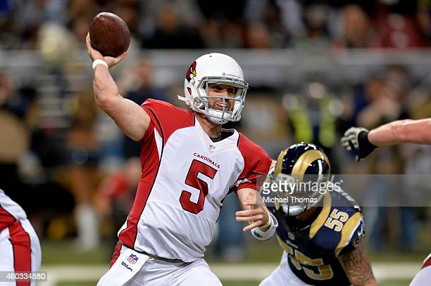 Drew Stanton of the Arizona Cardinals throws a pass in the first quarter against the St Louis Rams during their game at Edward Jones Dome on December...