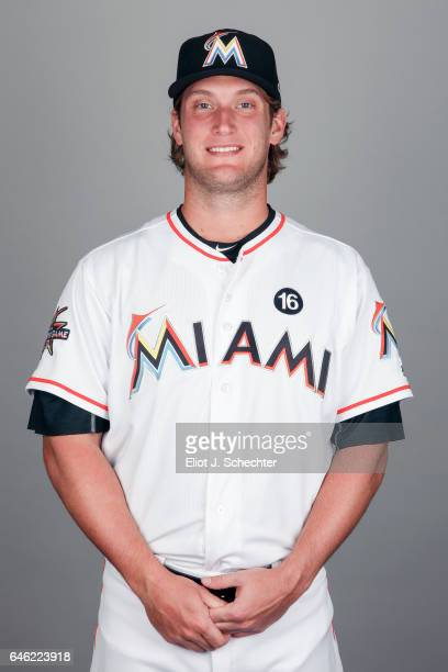 Drew Steckenrider of the Miami Marlins poses during Photo Day on Saturday February 18 2017 at Roger Dean Stadium in Jupiter Florida