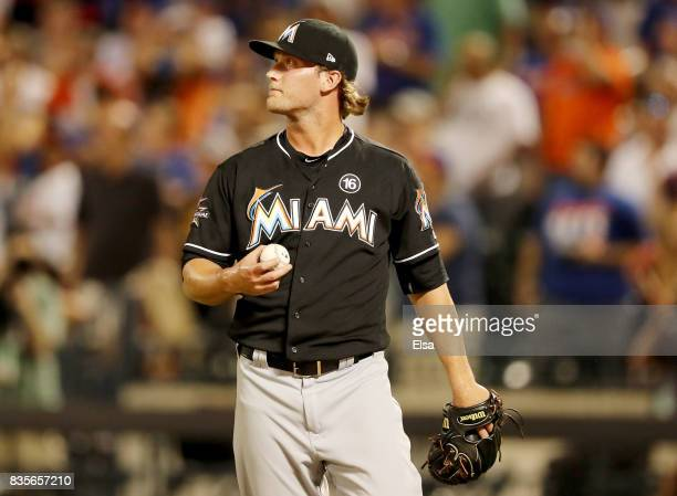 Drew Steckenrider of the Miami Marlins reacts after giving up a two run home run in the sixth inning to Wilmer Flores of the New York Mets on August...