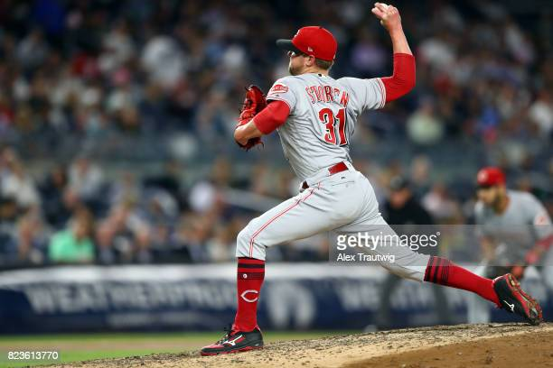 Drew Storen of the Cincinnati Reds pitches during the game against the New York Yankees at Yankee Stadium on Tuesday July 2017 in the Bronx borough...