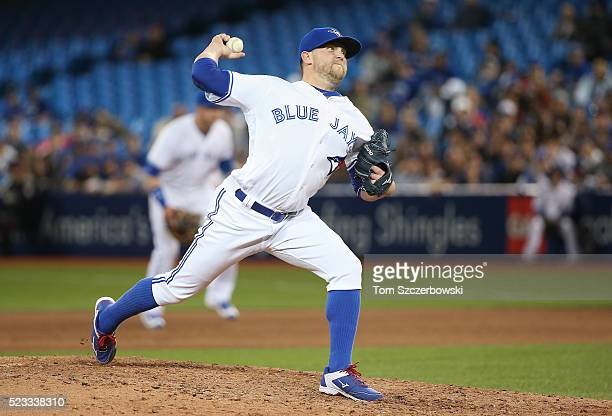 Drew Storen of the Toronto Blue Jays delivers a pitch in the eighth inning during MLB game action against the New York Yankees on April 13 2016 at...