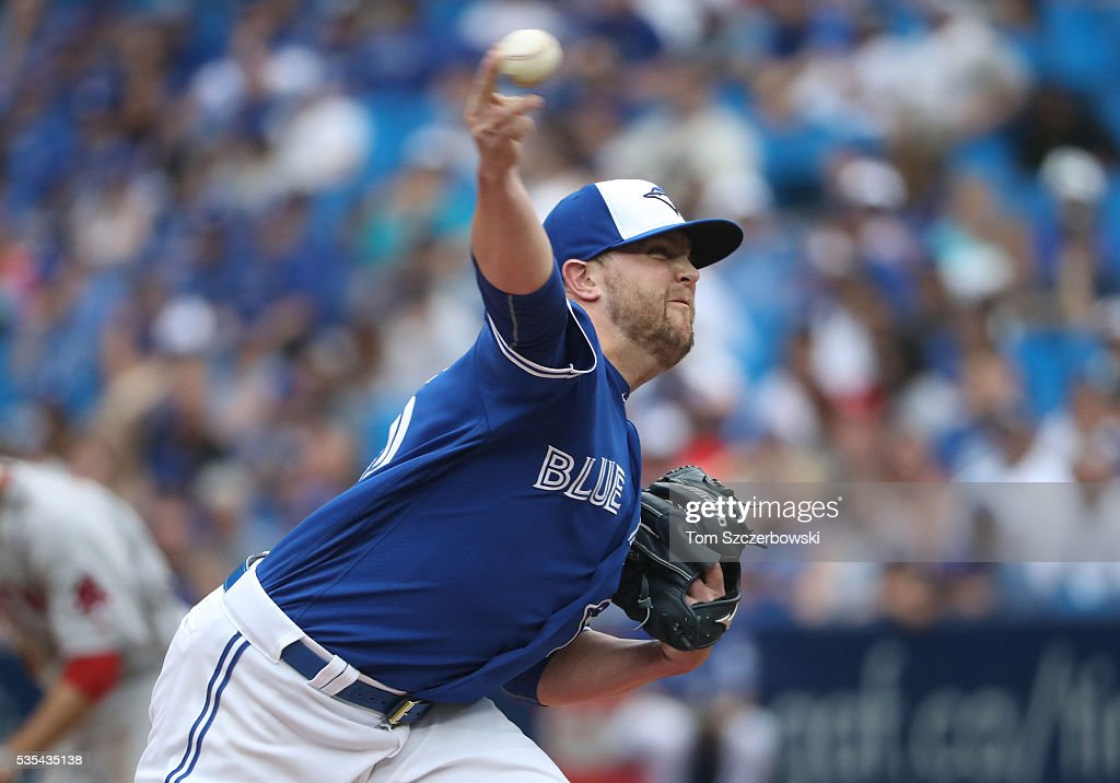 <a gi-track='captionPersonalityLinkClicked' href=/galleries/search?phrase=Drew+Storen&family=editorial&specificpeople=5926519 ng-click='$event.stopPropagation()'>Drew Storen</a> #45 of the Toronto Blue Jays delivers a pitch in the eleventh inning during MLB game action against the Boston Red Sox on May 29, 2016 at Rogers Centre in Toronto, Ontario, Canada.