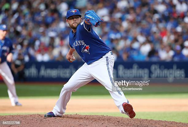 Drew Storen of the Toronto Blue Jays delivers a pitch in the seventh inning during MLB game action against the Arizona Diamondbacks on June 22 2016...