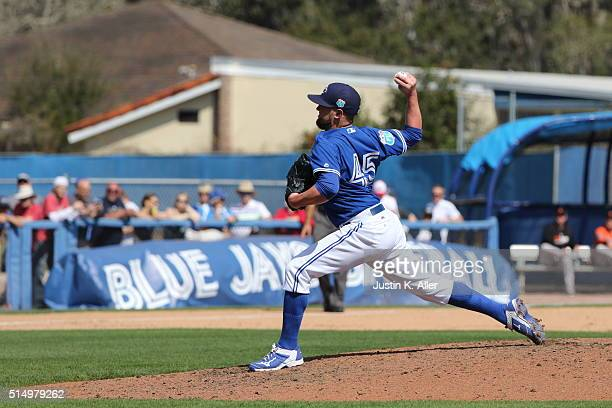 Drew Storen of the Toronto Blue Jays during the game against the Baltimore Orioles at Florida Auto Exchange Stadium on March 4 2016 in Dunedin Florida