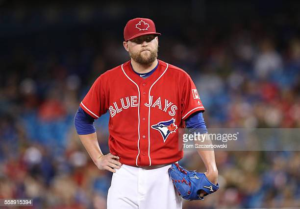 Drew Storen of the Toronto Blue Jays reacts in the fifteenth inning during MLB game action against the Cleveland Indians on July 1 2016 at Rogers...