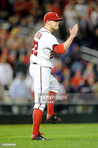 Drew Storen of the Washington Nationals celebrates after a 42 victory against the New York Mets at Nationals Park on September 23 2014 in Washington...