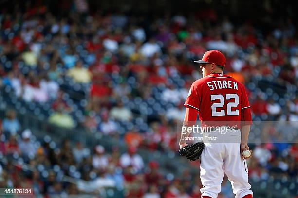 Drew Storen of the Washington Nationals looks in before pitching to a Philadelphia Phillies batter during the ninth inning of a 32 Nationals win at...