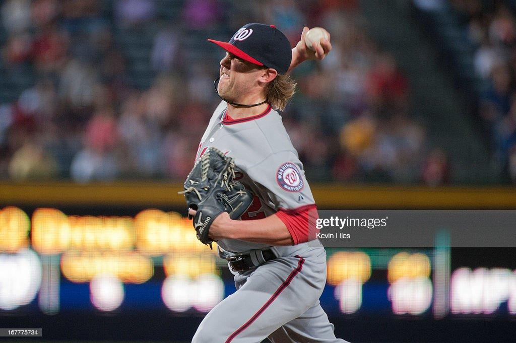 <a gi-track='captionPersonalityLinkClicked' href=/galleries/search?phrase=Drew+Storen&family=editorial&specificpeople=5926519 ng-click='$event.stopPropagation()'>Drew Storen</a> #22 of the Washington Nationals pitches against the Washington Nationals during the 8th inning at Turner Field on April 29, 2013 in Atlanta, Georgia. The Braves defeated the Nationals 3-2.