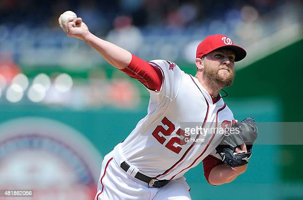 Drew Storen of the Washington Nationals pitches against the Los Angeles Dodgers at Nationals Park on July 18 2015 in Washington DC The game was the...