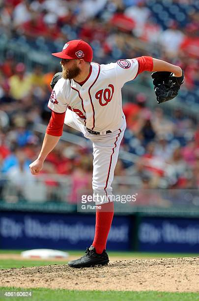 Drew Storen of the Washington Nationals pitches against the Miami Marlins at Nationals Park on August 30 2015 in Washington DC