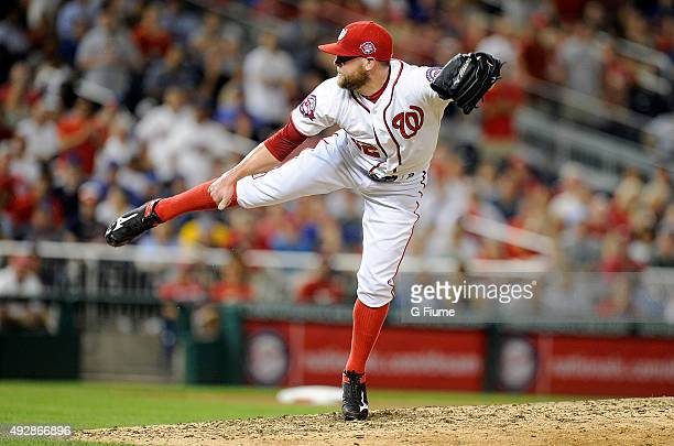 Drew Storen of the Washington Nationals pitches against the New York Mets at Nationals Park on September 8 2015 in Washington DC