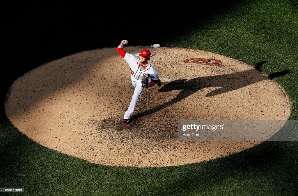 <a gi-track='captionPersonalityLinkClicked' href=/galleries/search?phrase=Drew+Storen&family=editorial&specificpeople=5926519 ng-click='$event.stopPropagation()'>Drew Storen</a> #22 of the Washington Nationals pitches against the St. Louis Cardinals during Game Three of the National League Division Series at Nationals Park on October 10, 2012 in Washington, DC.