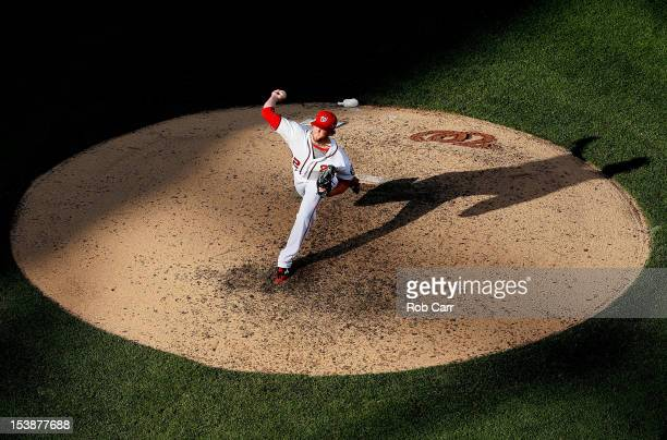 Drew Storen of the Washington Nationals pitches against the St Louis Cardinals during Game Three of the National League Division Series at Nationals...