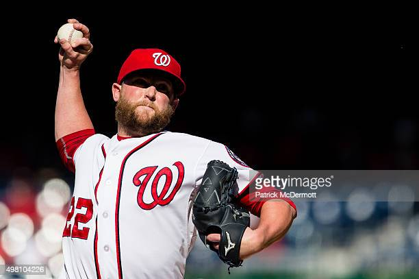 Drew Storen of the Washington Nationals pitches during a game against the Atlanta Braves at Nationals Park on September 6 2015 in Washington DC