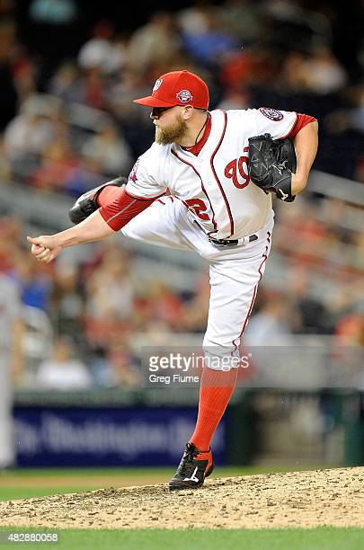 Drew Storen of the Washington Nationals pitches in the eighth inning against the Arizona Diamondbacks at Nationals Park on August 3 2015 in...