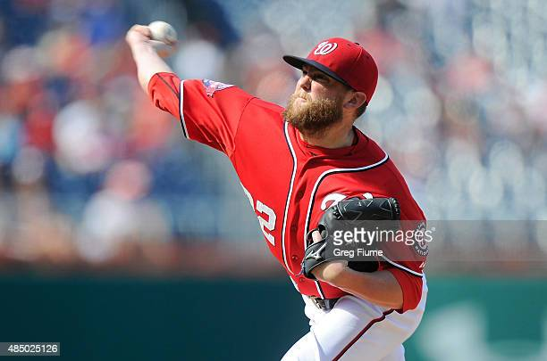 Drew Storen of the Washington Nationals pitches in the eighth inning against the Milwaukee Brewers at Nationals Park on August 23 2015 in Washington...