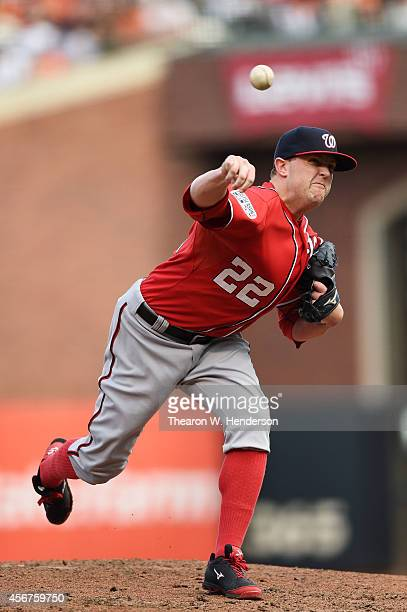 Drew Storen of the Washington Nationals pitches in the ninth inning against the San Francisco Giants during Game Three of the National League...