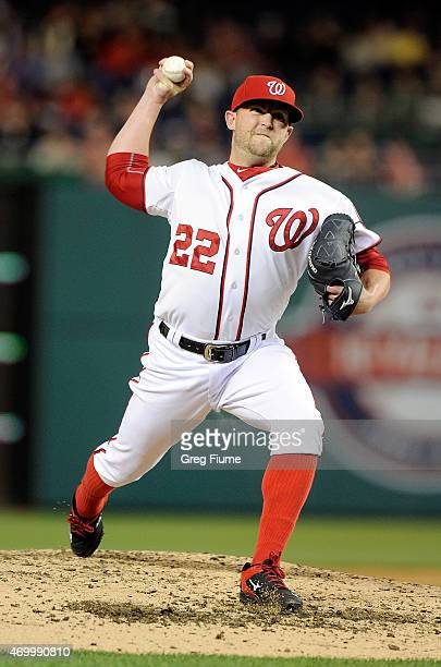 Drew Storen of the Washington Nationals pitches in the ninth inning against the Philadelphia Phillies at Nationals Park on April 16 2015 in...