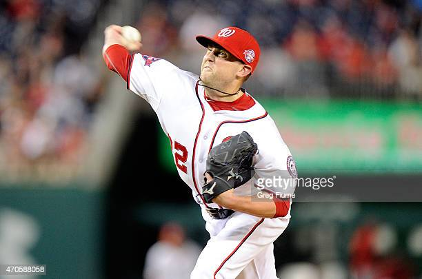 Drew Storen of the Washington Nationals pitches in the ninth inning against the St Louis Cardinals at Nationals Park on April 21 2015 in Washington DC