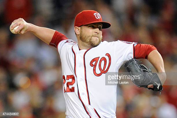 Drew Storen of the Washington Nationals pitches in the ninth inning to get this 13th save during a baseball game against the Philadelphia Phillies at...