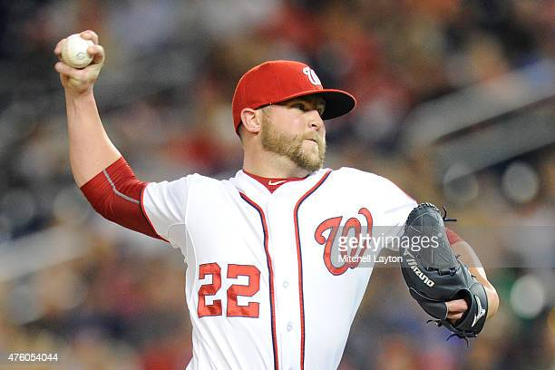 Drew Storen of the Washington Nationals pitches in the ninth inning for his 18th save during a baseball game against the Chicago Cubs at Nationals...
