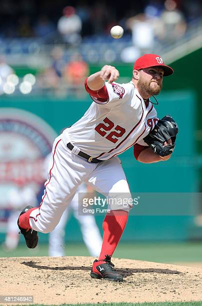 Drew Storen of the Washington Nationals pitches in the ninth inning against the Los Angeles Dodgers at Nationals Park on July 18 2015 in Washington...