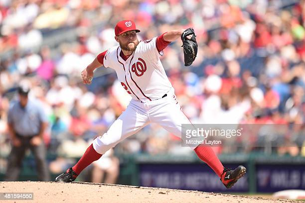 Drew Storen of the Washington Nationals pitches in the ninth inning to get his 29th save of the year during a baseball game against the New York Mets...