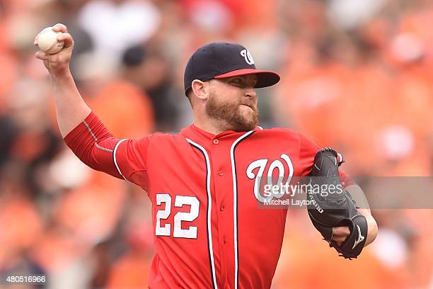 Drew Storen of the Washington Nationals pitches in with ninth inning for his save during a baseball game against the Baltimore Orioles at Oriole Park...