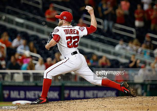 Drew Storen of the Washington Nationals pitches to an Atlanta Braves batter in the ninth inning of the Nationals 31 win at Nationals Park on June 24...