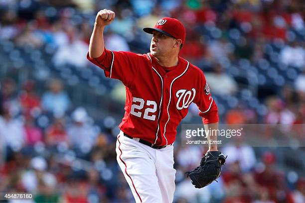 Drew Storen of the Washington Nationals reacts after a pitch to a Philadelphia Phillies batter during the ninth inning of a 32 Nationals win at...