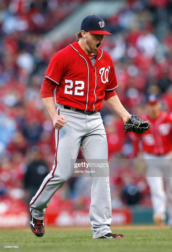 <a gi-track='captionPersonalityLinkClicked' href=/galleries/search?phrase=Drew+Storen&family=editorial&specificpeople=5926519 ng-click='$event.stopPropagation()'>Drew Storen</a> #22 of the Washington Nationals reacts after throwing the final pitch to defeat the St Louis Cardinals during Game One of the National League Division Series at Busch Stadium on October 7, 2012 in St Louis, Missouri.