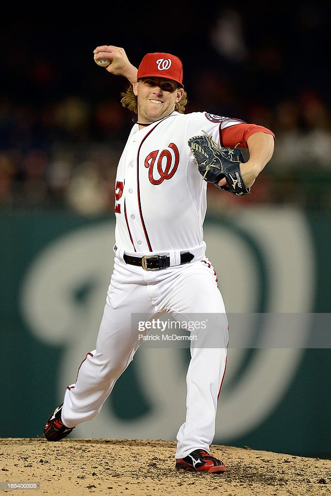 <a gi-track='captionPersonalityLinkClicked' href=/galleries/search?phrase=Drew+Storen&family=editorial&specificpeople=5926519 ng-click='$event.stopPropagation()'>Drew Storen</a> #22 of the Washington Nationals throws a pitch in the eighth inning during a game against the Miami Marlins at Nationals Park on April 3, 2013 in Washington, DC.