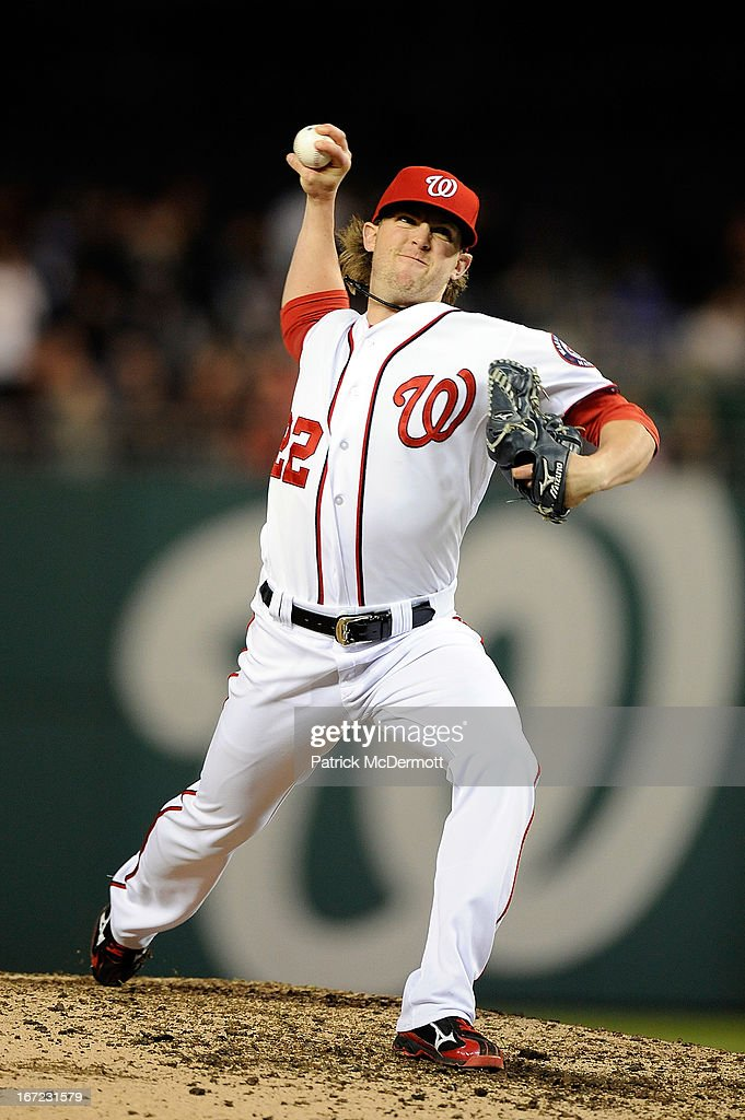 <a gi-track='captionPersonalityLinkClicked' href=/galleries/search?phrase=Drew+Storen&family=editorial&specificpeople=5926519 ng-click='$event.stopPropagation()'>Drew Storen</a> #22 of the Washington Nationals throws a pitch in the ninth inning during a game against the St. Louis Cardinals at Nationals Park on April 22, 2013 in Washington, DC.