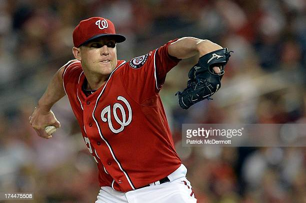 Drew Storen of the Washington Nationals throws a pitch in the seventh inning of a game against the Los Angeles Dodgers at Nationals Park on July 20...