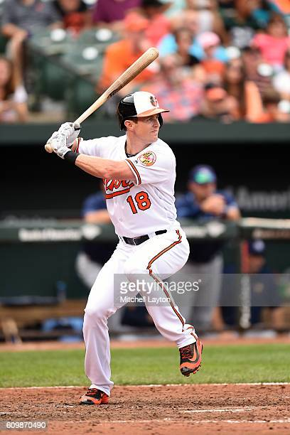 Drew Stubbs of the Baltimore Orioles prepares for a pitch during a baseball game against the against the Tampa Bay Rays at Oriole Park at Camden...