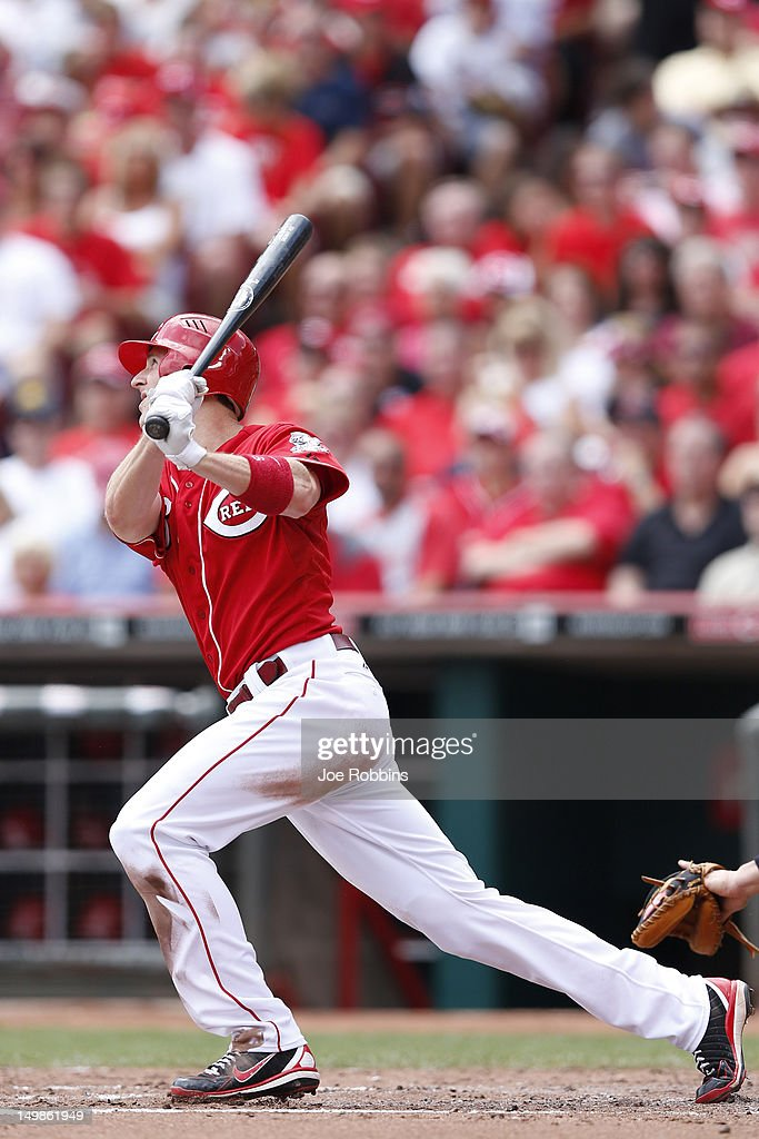 Drew Stubbs #6 of the Cincinnati Reds hits a home run in the third inning of the game against the Pittsburgh Pirates at Great American Ball Park on August 5, 2012 in Cincinnati, Ohio. The Pirates won 6-2.