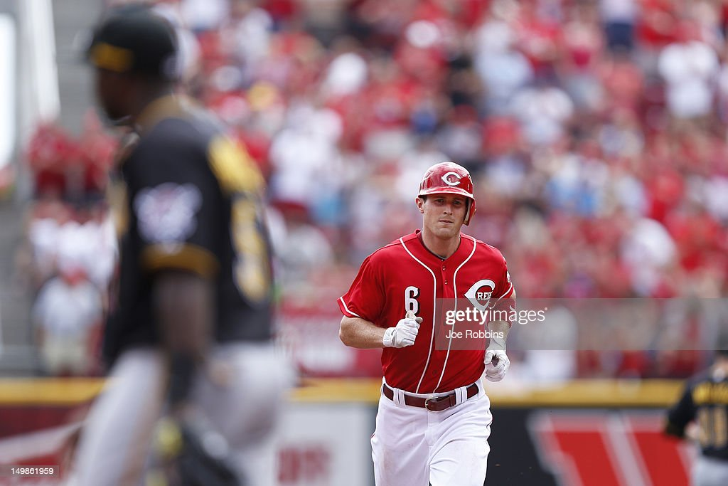Drew Stubbs #6 of the Cincinnati Reds rounds the bases after hitting a home run in the third inning of the game against the Pittsburgh Pirates at Great American Ball Park on August 5, 2012 in Cincinnati, Ohio. The Pirates won 6-2.